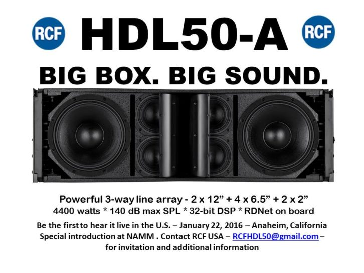 RCF to Debut HDL50-A Line Array at NAMM Party January 22